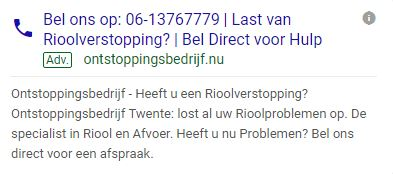 Markant Internet - Call Ads - Onstoppingsbedrijf