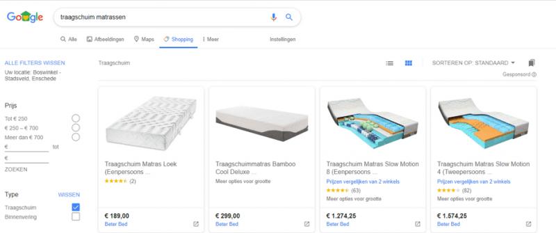 Google Shopping tabblad voor gratis vermeldingen